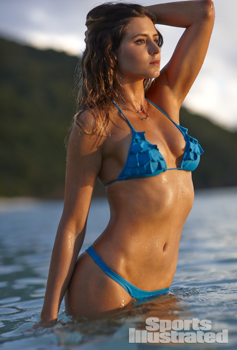 Anastasia Ashley was photographed by Adam Franzino in Guana Island. Swimsuit by San Lorenzo.