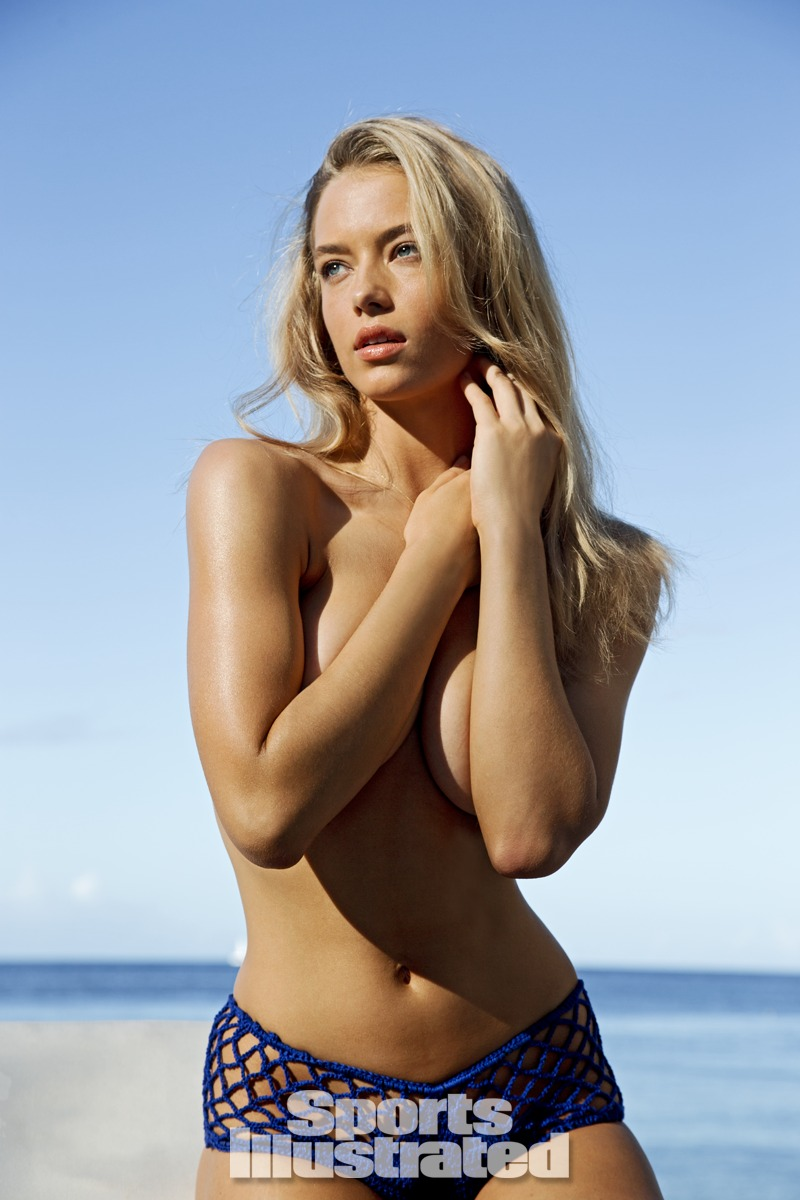 Hannah Ferguson was photographed by Walter Iooss Jr. in St. Lucia. Swimsuit by Anna Kosturova.