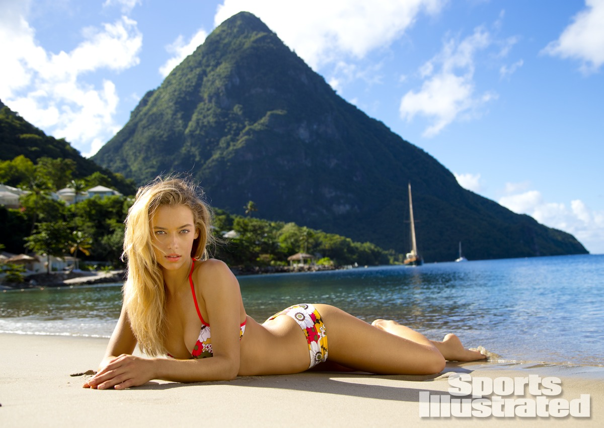 Hannah Ferguson was photographed by Walter Iooss Jr. in St. Lucia. Swimsuit by Letarte by Lisa Cabrinha.