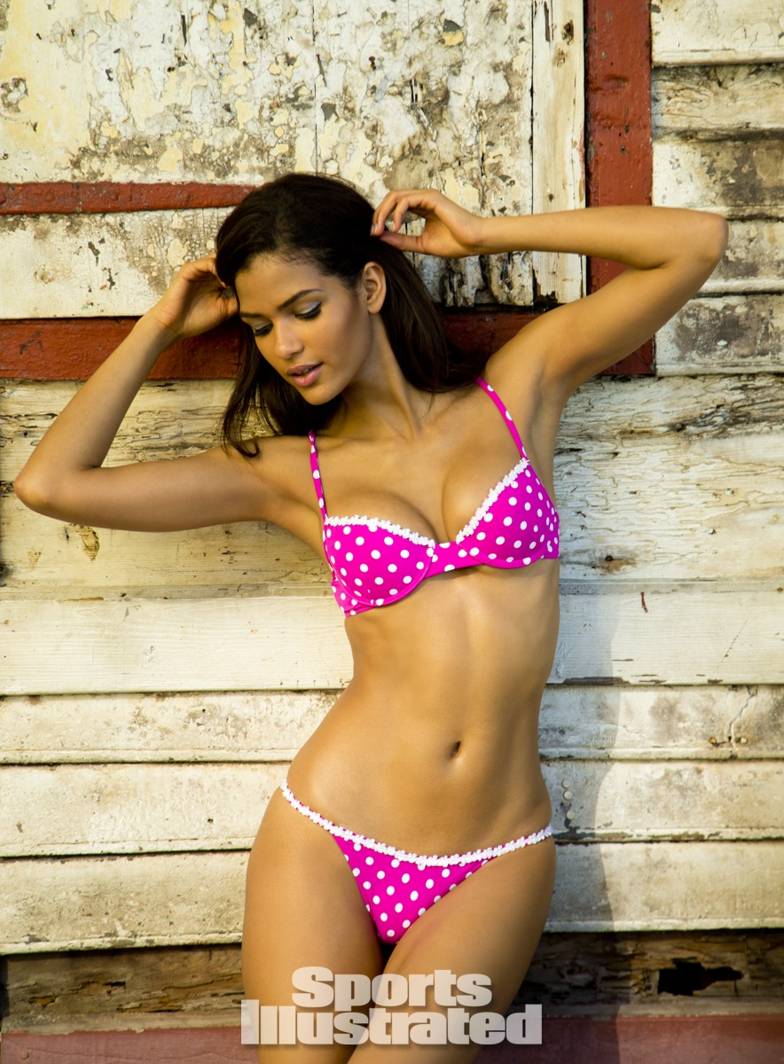 Cris Urena was photographed by Walter Iooss Jr. in St. Lucia. Swimsuit by Elizabeth Southwood for Sauvage Swimwear.