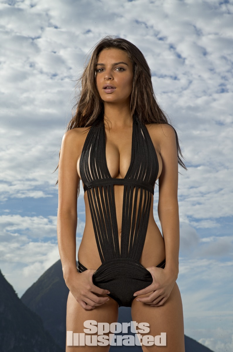 Emily Ratajkowski was photographed by Walter Iooss Jr. at Caille Blanc Villa, in Soufriere, St. Lucia. Swimsuit by Herve Leger by Max Azria.