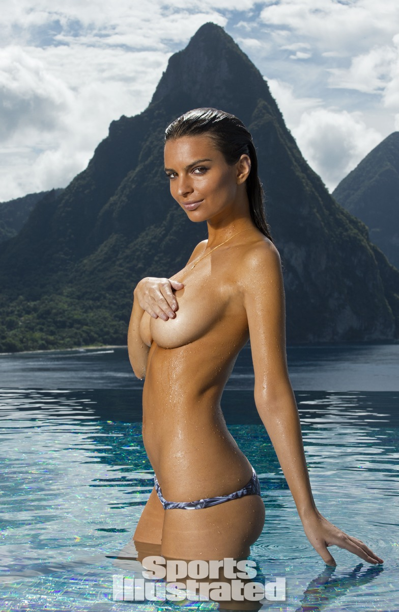 Emily Ratajkowski was photographed by Walter Iooss Jr. at Caille Blanc Villa, in Soufriere, St. Lucia. Swimsuit by MIKOH.