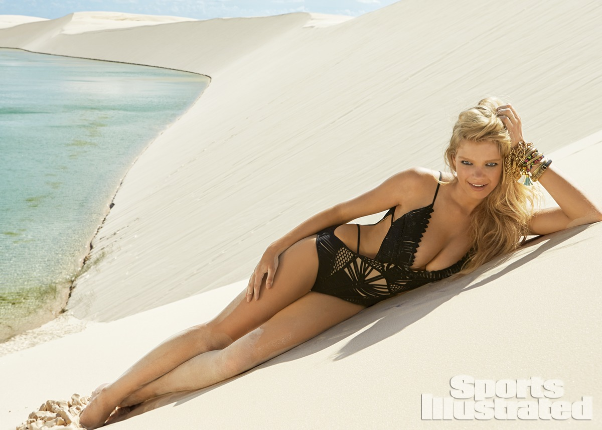 Valerie van der Graaf was photographed by Raphael Mazzucco in Brazil. Swimsuit by Herve Leger by Max Azria.