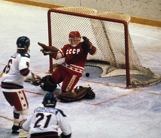 Mike Eruzione (21) of the U.S. wristed the winning goal past Vladimir Myshkin at Lake Placid in 1980.