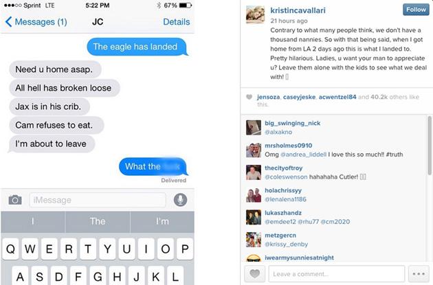 Jay Cutler Chicago Bears Kristen Cavallari instagram post