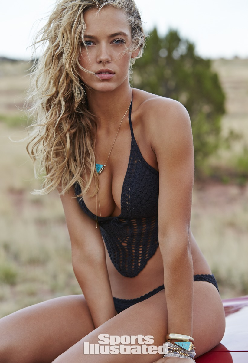 Hannah Ferguson was photographed by Ben Morris on U.S. Route 66.