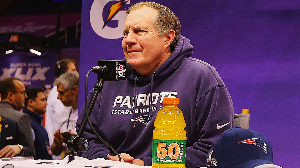 Bill Belichick and Deflategate at Super Bowl XLIX Media Day