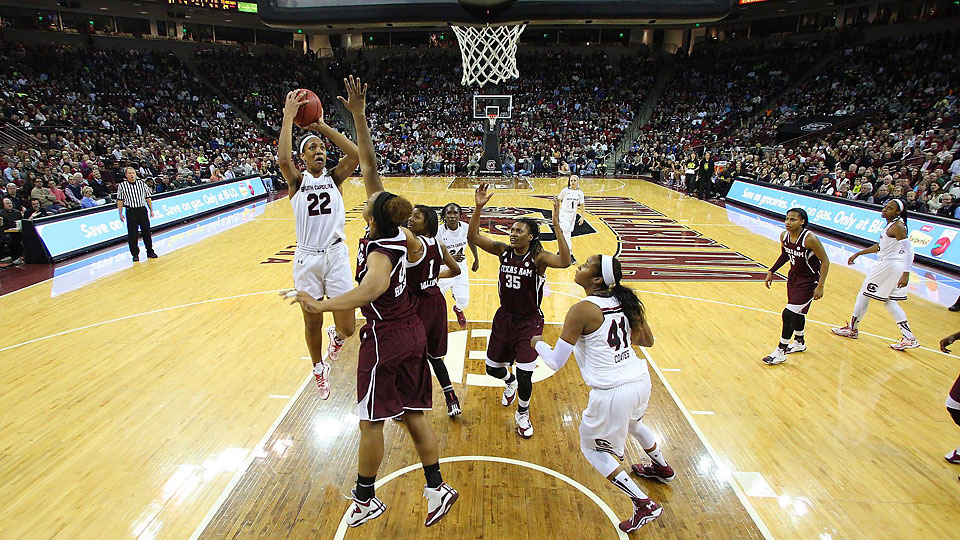 Freshman forward Aj'a Wilson (22) averages more than 13 points per game for the Gamecocks.