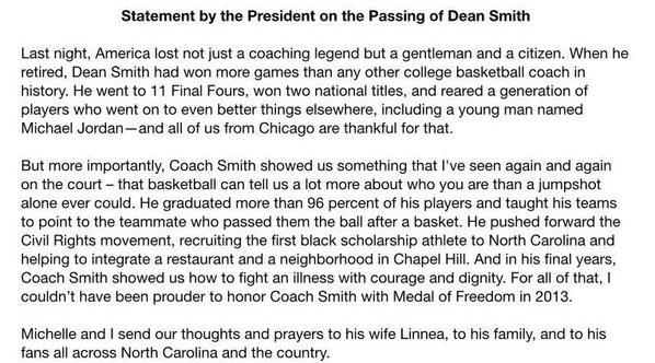 Barack Obama statement on death of North Carolina's Dean Smith