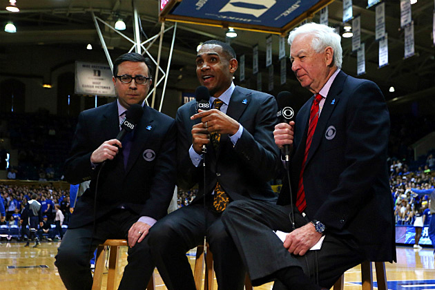 Bill Raftery, Grant Hill and Ian Eagle work Duke-Notre Dame