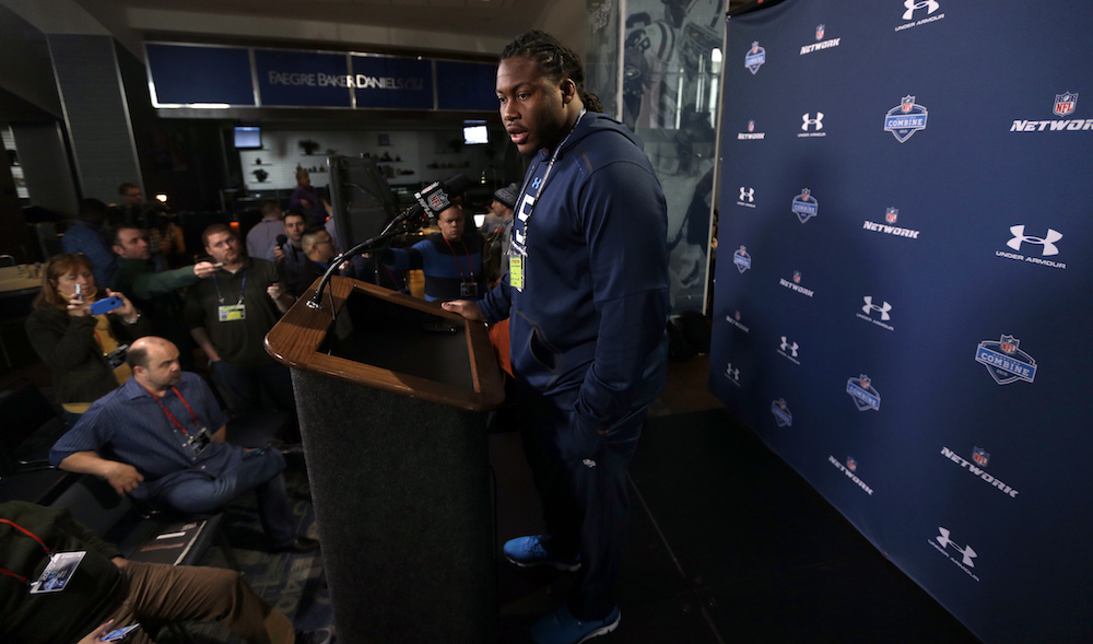 Former South Carolina offensive lineman A.J. Cann answers questions during a press conference at the NFL combine on Wednesday.