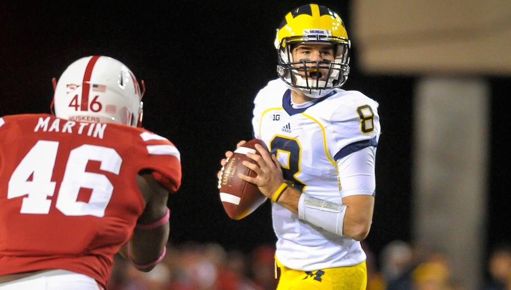 Former Michigan quarterback Russell Bellomy looks to pass in an Oct. 27, 2012, game vs. Nebraska