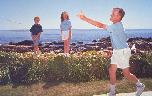 Bush's grandchildren are used to watching Gampy, a southpaw, pitch horseshoes with his left hand, though he plays tennis as a righty.