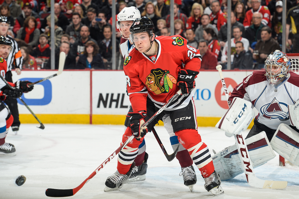 Chicago Blackhawks winger Ben Smith in a Feb. 20 game against the Colorado Avalanche.