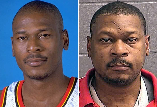 Mookie Blaylock's team photo with the Hawks and mugshot after the 2013 crash.