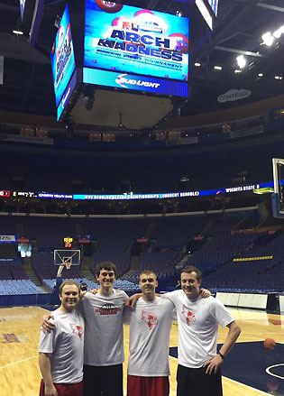 """Illinois State's student managers after winning their second straight Missouri Valley Conference """"Manager Madness"""" title. (L to R: Andy Holloway, K.J. Conklin, Connor Kaminke, John Putyrski."""