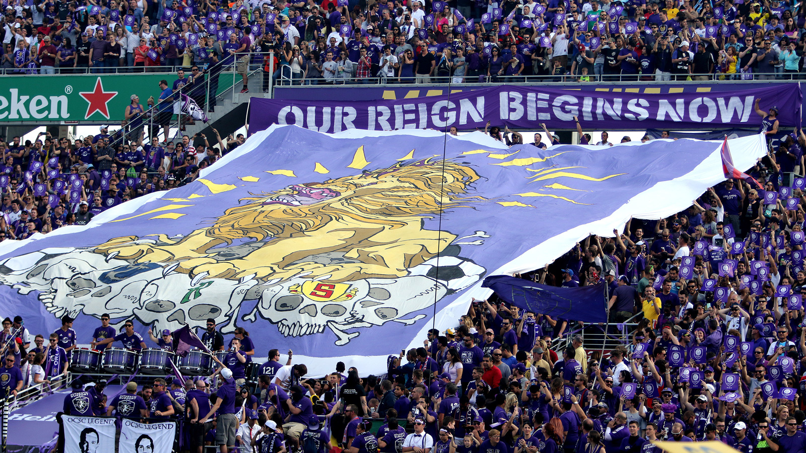 "Orlando City fans mark their club's inaugural MLS game vs. fellow expansion side New York City FC with a statement that the Lions' ""reign begins now."""