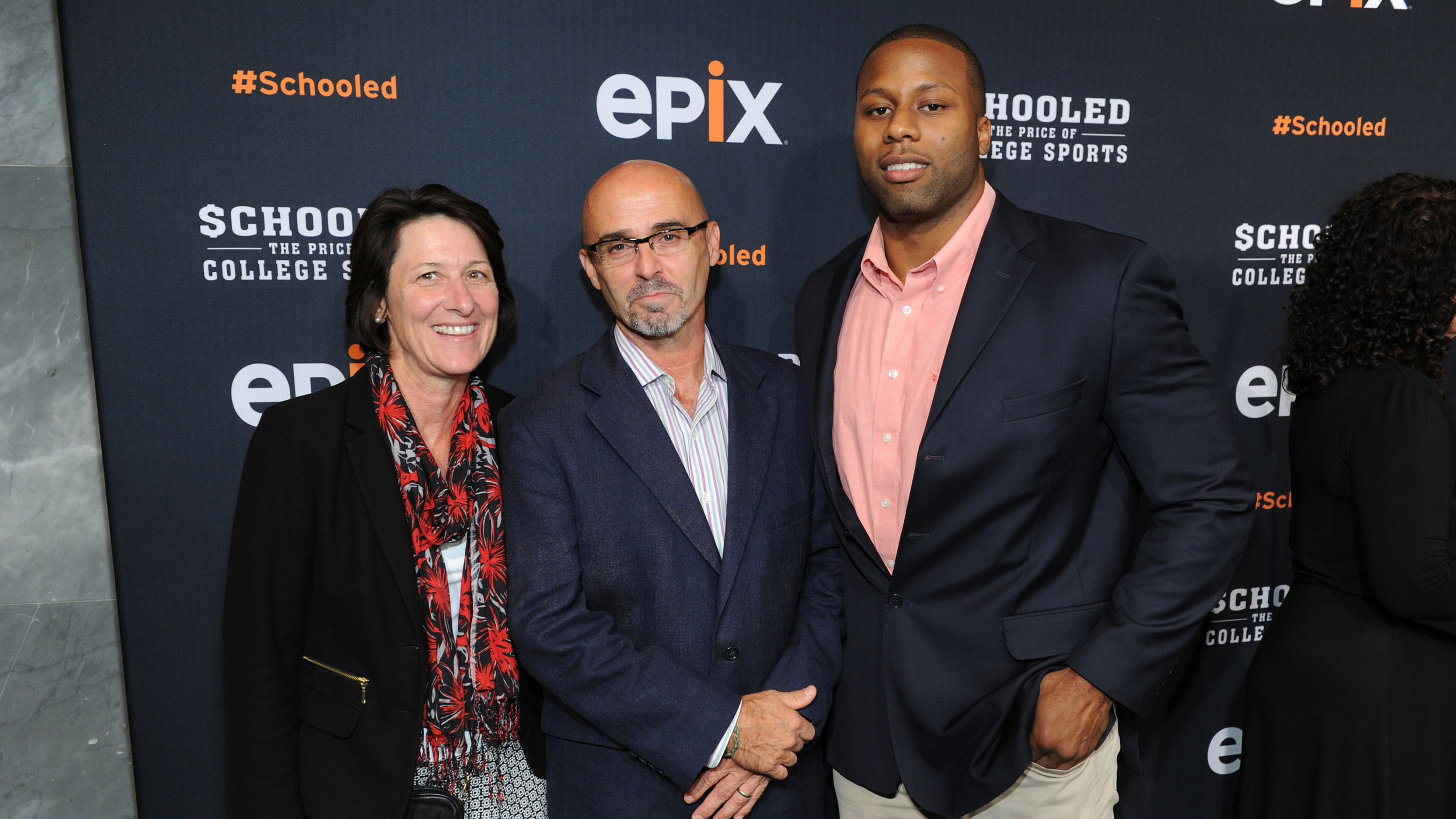 Mary Willingham, Richard Southall and Devon Ramsay attend the EPIX Presents 'Schooled: The Price of College Sports' in 2013.