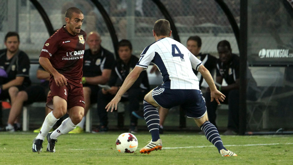 Sacramento Republic's Jack Avesyan (left) in a friendly against West Bromwich Albion in 2014.