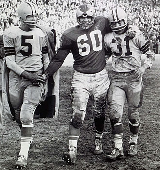 Chuck Bednarik and Paul Hornung and Jim Taylor