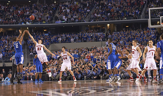 Aaron Harrison's game-winning three gave the Wildcats a one-point win over the Badgers at last year's Final Four.