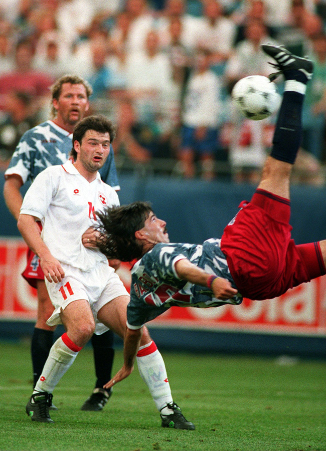 Marcelo Balboa tries a bicycle kick vs. Switzerland, foreshadowing his spectacular near make against Colombia in the next game that went just wide of the mark.