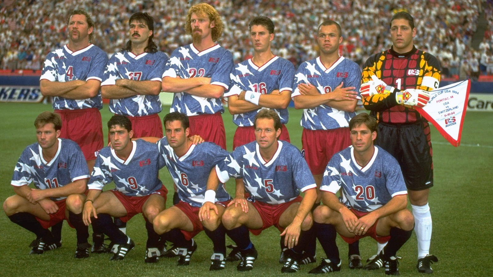 The USA starting lineup vs. Switzerland: (L-R Top) Cle Kooiman (4), Marcelo Balboa (17), Alexi Lalas (22), Mike Sorber (16), Earnie Stewart (8) and Tony Meola (1). (L-R Bottom) Eric Wynalda (11), Tab Ramos (9), John Harkes (6), Thomas Dooley (5) and Paul Caligiuri (20).