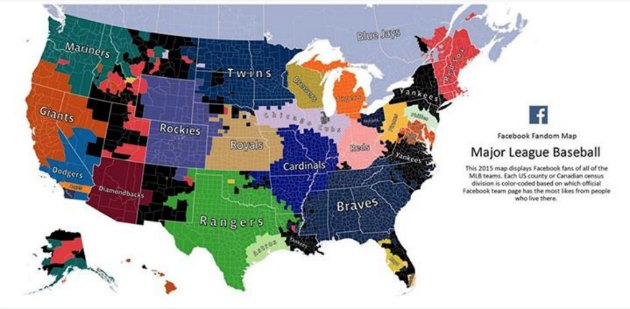 Facebook unveils 2015 MLB fandom map ahead of opening day