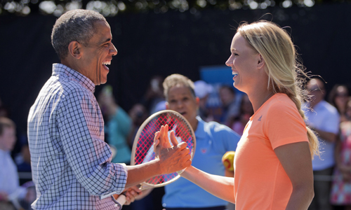Barack Obama and Caroline Wozniacki