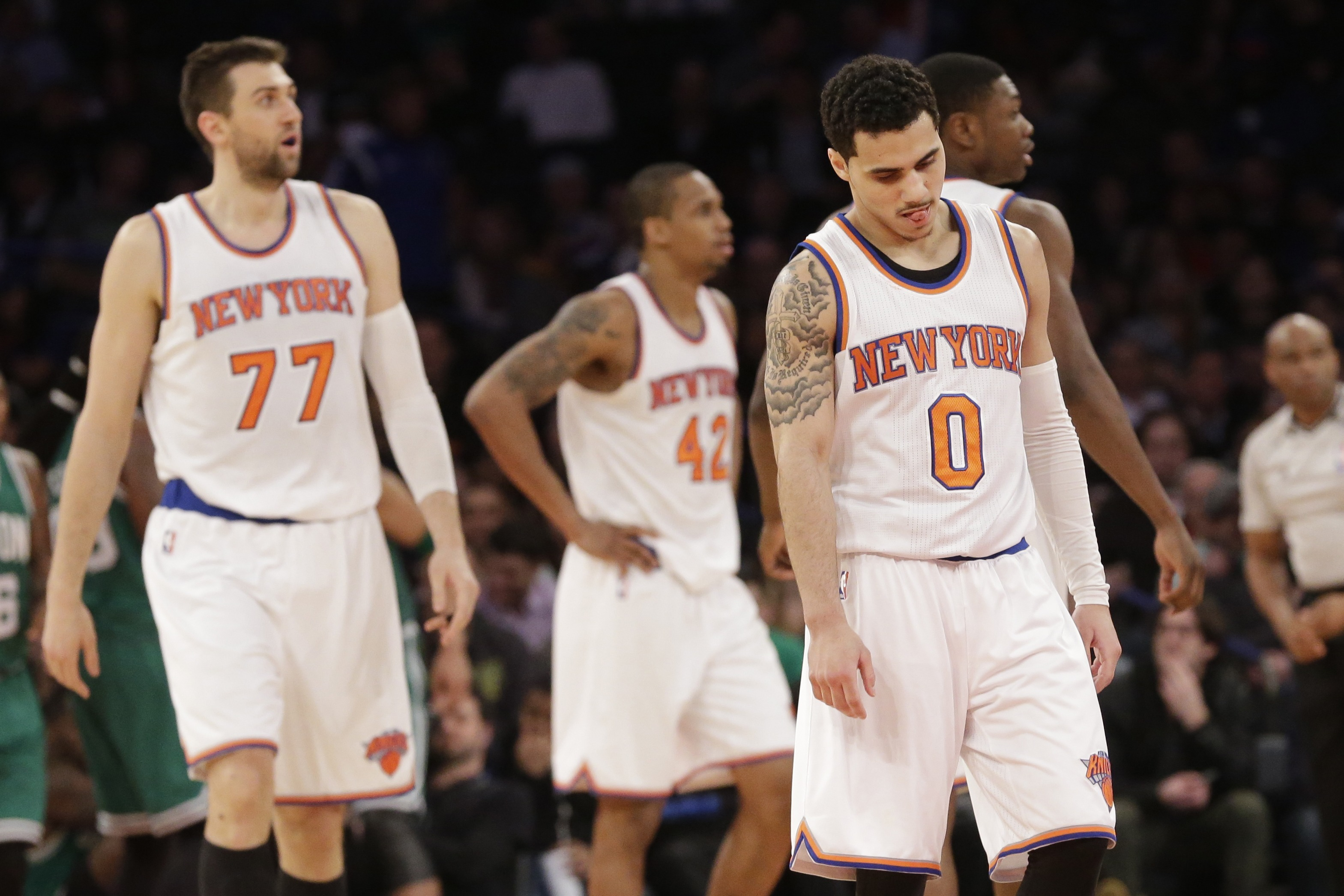 How the Knicks look walking off the court after most games.