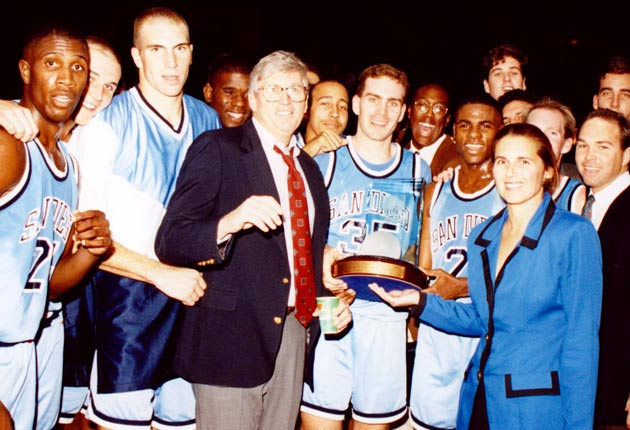 Pictured: Chris Grant, Hank Egan (blazer), David Fizdale, Mike Brown and other Toreros