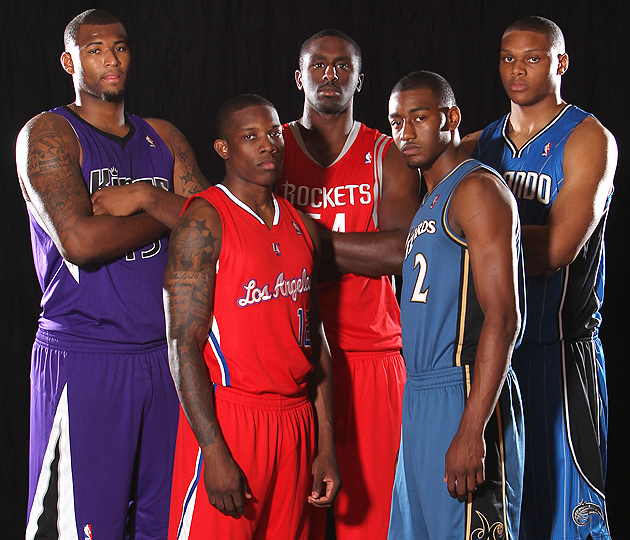 Left to right at the 2010 rookie photo shoot: DeMarcus Cousins, Eric Bledsoe, Patrick Patterson, John Wall and Daniel Orton.