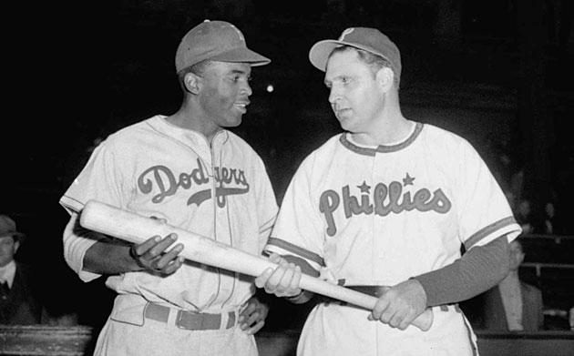 Jackie Robinson, Brooklyn Dodgers and Ben Chapman, Philadelphia Phillies