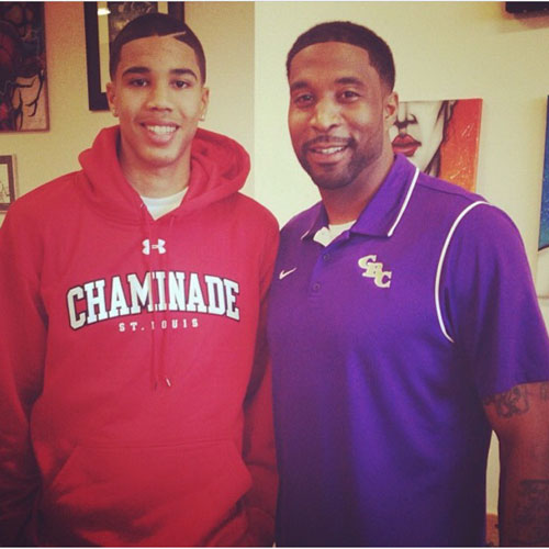 Jayson has won three of four matchups against his father, Justin (in purple), coach at Christian Brothers College High.