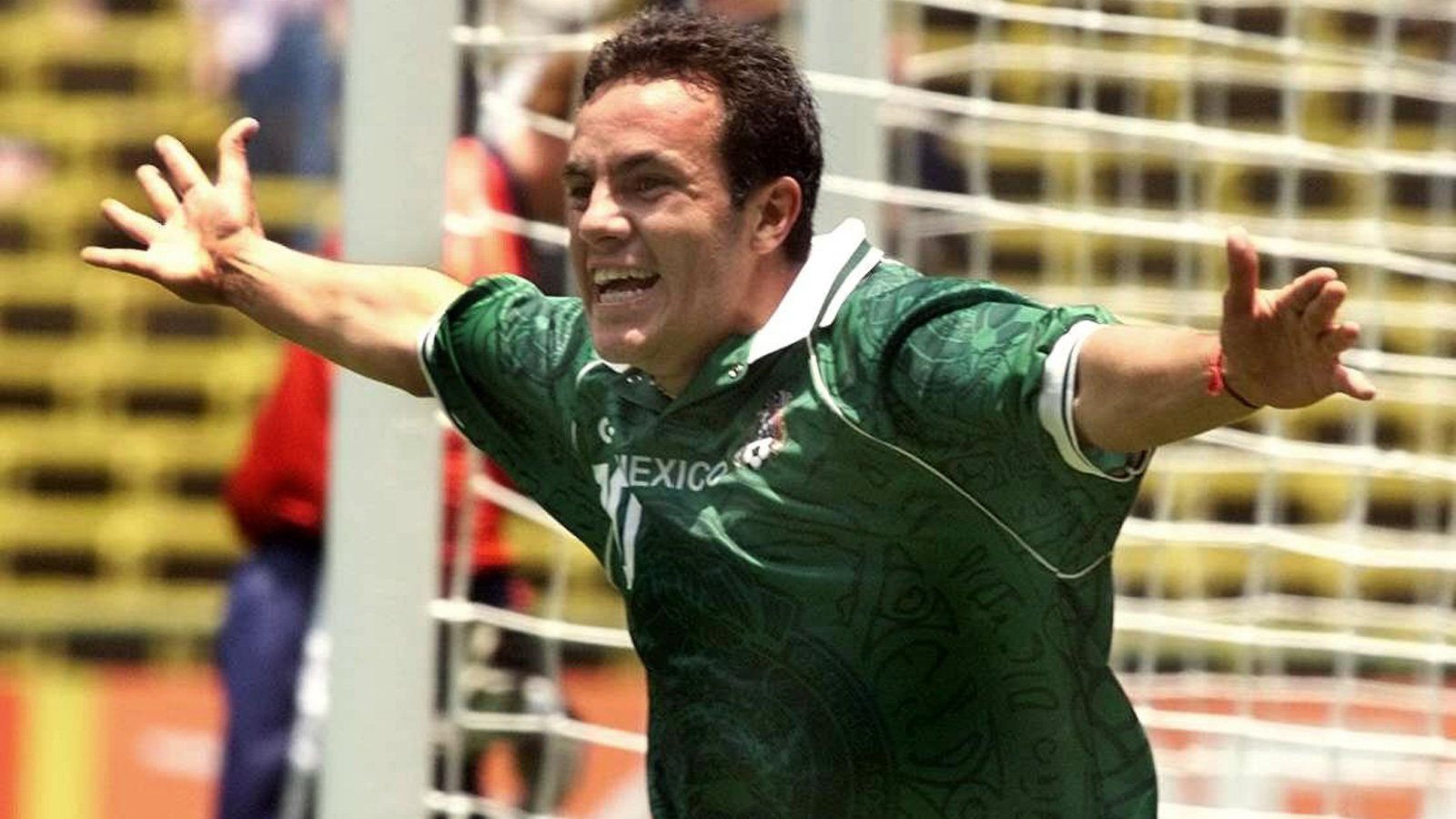 Blanco celebrates his golden goal against the USA in the 1999 FIFA Confederations Cup semifinals on his home soil.