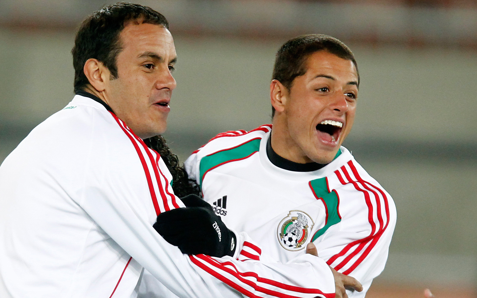 "Blanco and Javier ""Chicharito"" Hernandez have some fun during training at the 2010 World Cup in South Africa."