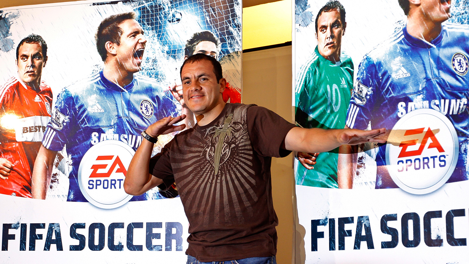 Blanco poses as part of EA Sports's FIFA 2010 cover release for the popular video game in North America.