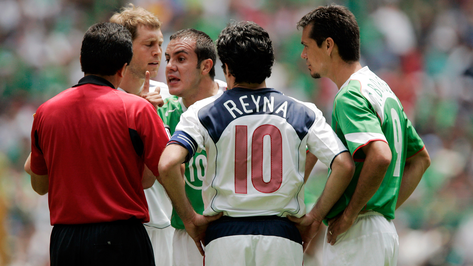 Blanco argues with the referee in a 2006 World Cup qualifying match against the USA, which Mexico wound up winning 2-1.