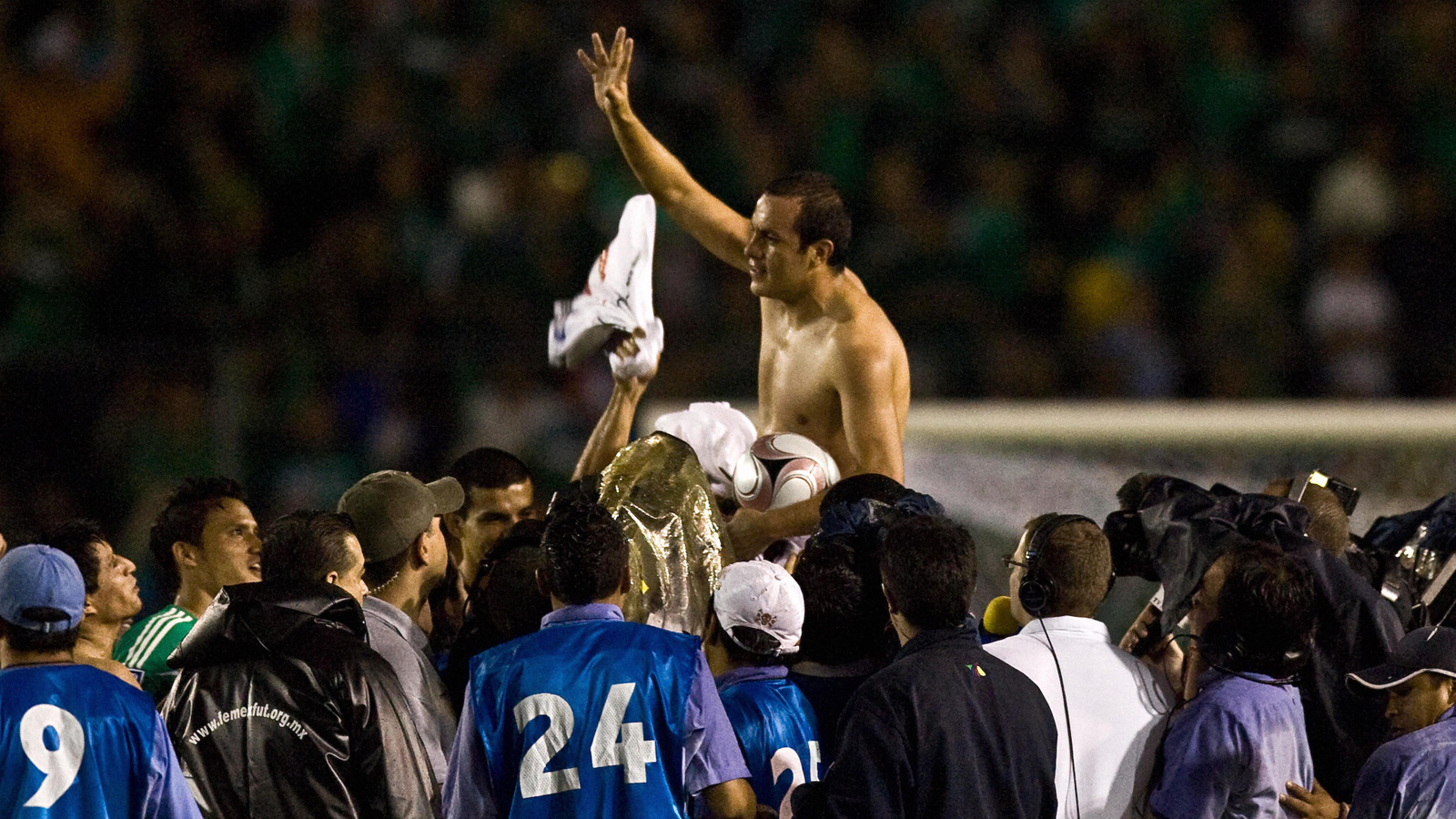 Blanco is hoisted after a World Cup qualifying match against Canada in 2008.