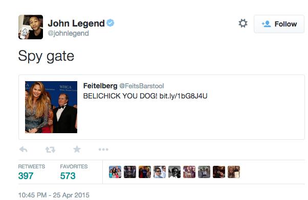 john legend tweet bill belichick chrissy teigen
