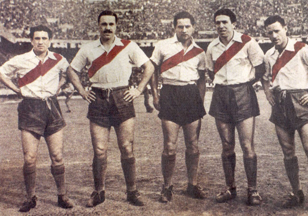 From left: River Plate's Juan C. Muñoz, José M. Moreno, Adolfo Pedernera, Angel Labruna and Félix Lousteau.