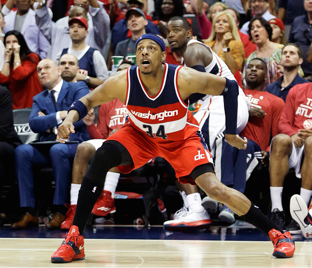 Paul Pierce's three-pointer was too late as the Hawks eliminated the Wizards in Game 6.