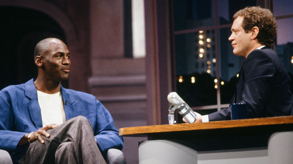 "Michael Jordan appears on ""Late Night with David Letterman"" in 1989"