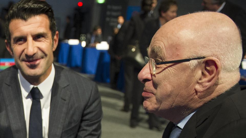FIFA presidential candidates Luis Figo, left, and Michael van Praag