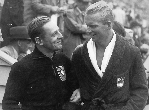 Germany's Erhard Weiss (far left, with Wayne) fell shrot of a medal in both the platform and the springboard, to the chagrin of the Führer.