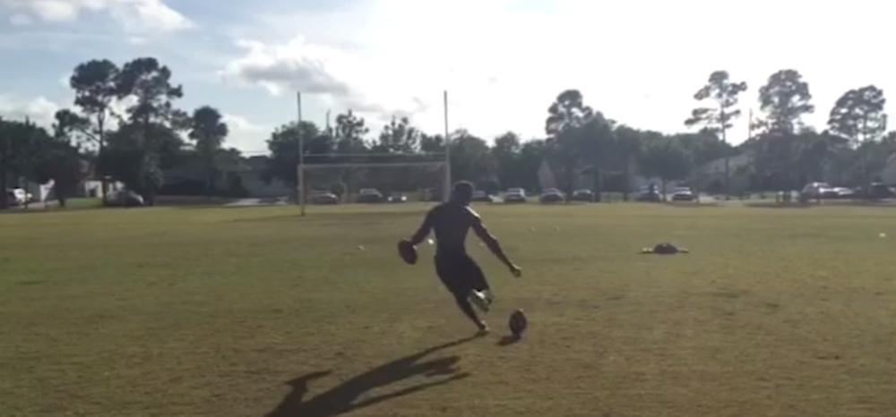 video ucf k donald delahaye pulls off two trick shot field goals