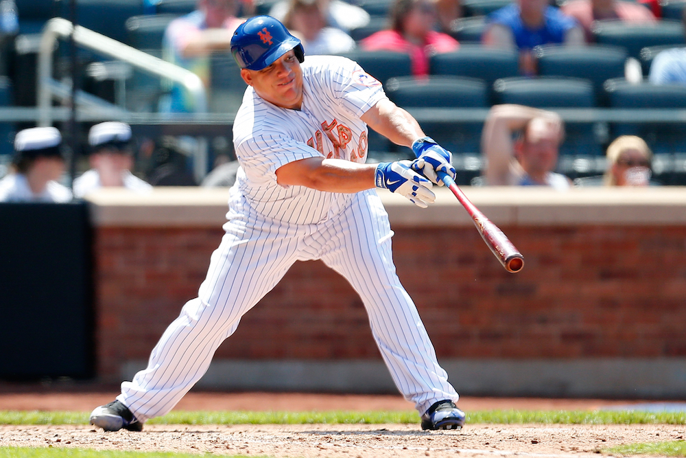 Bartolo Colon hits a single during the Mets' 6-3 win over the Phillies on May 25.