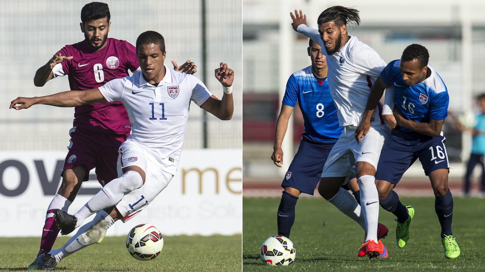 Alonso Hernandez, left, takes on Qatar, while Julian Green, right, vies for the ball against France in the Toulon Tournament as part of Olympic qualifying preparations.