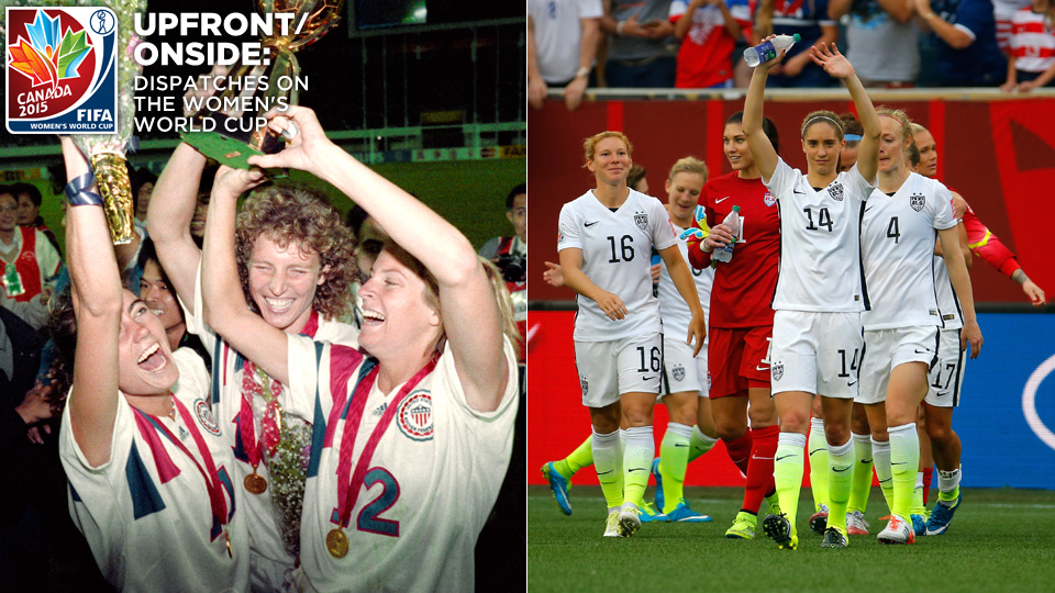 The U.S. women's national team, in 1991, left, and 2015, right; But the women's game goes beyond the first World Cup 24 years ago.