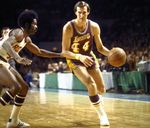 Lakers guard Jerry West pictured in 1972 in the Western Conference finals against the Bucks.